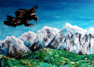 mountains and eagle